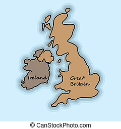 Great Britain - Simple map of Great Britain and Ireland