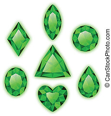 Set of green gems isolated on white - Set of colored gems...