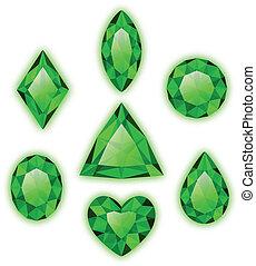 Conjunto, verde, Gemas, aislado, blanco
