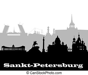 silhouette of Sankt-Petersburg - black and gray silhouette...