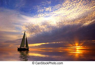 velejando, pôr do sol