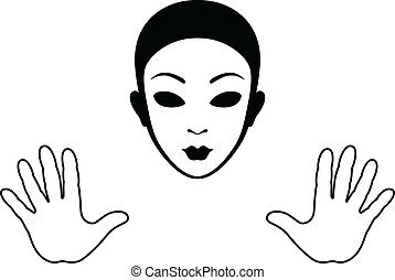 Mime Mask and Hands Silhouette Isolated on White