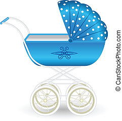 Blue pram - Illustration of a stylish blue pram