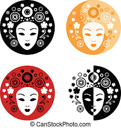 Abstract face on the circle - Abstract illustration of...