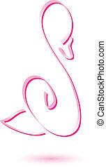 logo, schwan, schablone