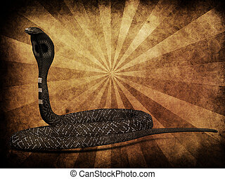 Cobra snake on grunge background - Illustration of 3d cobra...