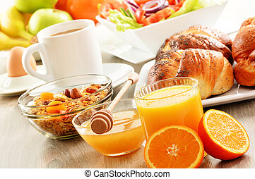 petit déjeuner, inclure, café, pain, miel,...