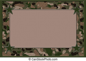 Camouflage Background with Stars and Center for copy-space,...