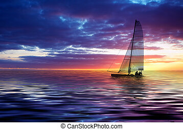 sailing and sunset - Sailboat against a beautiful sunset