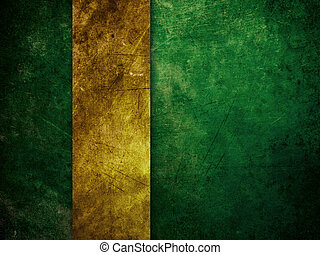 Gold ribbon on green background - Illustration of green...