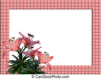 Floral Border woven frame Pink Lilies - Image and...