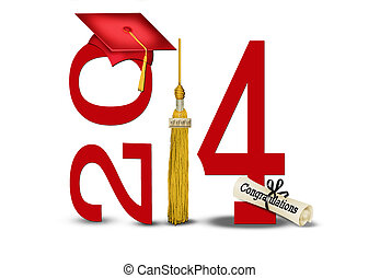 class of 2014 with gold tassel - Red graduation cap and gold...