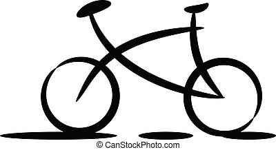 Bicycle silhouette - Black silhouette of bicycle on white...
