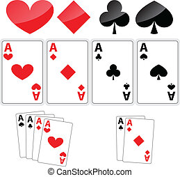 Four aces - Set of ace cards on white background