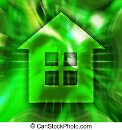 Home Symbol - Green home symbol conceptual illustration
