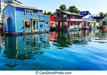 Floating Home Village Blue Red Brown Houseboats Fisherman's...