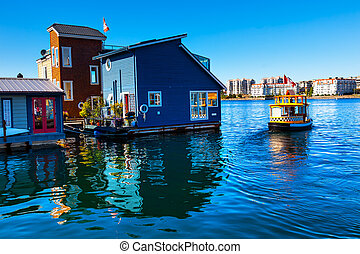 Floating, Home, Village, Water, Taxi, Blue, Houseboats,...