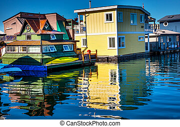 Floating Home Village Yellow Brown Houseboats Fisherman's...