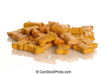 dog buscuits - pile of dog bones with reflection isolated on...