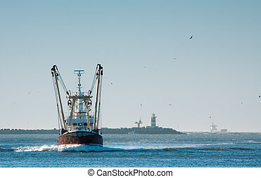 fishing ship in harbor