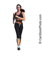 woman running isolated on white