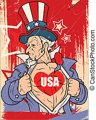 Retro Uncle Sam - 4th of July - Drawing Art of Uncle Sam -...
