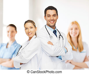 young team or group of doctors - healthcare, hospital and...