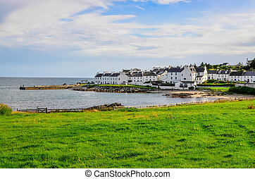 View of harbour and town Port Charlotte on Isle of Islay