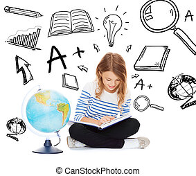 girl with globe and book - education and school concept -...