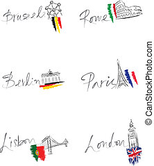 European capitals and landmarks - Six hand written European...