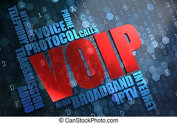 VOIP. Wordcloud Concept. The Word in Red Color, Surrounded...