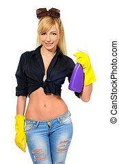 Cleaning woman ready for spring cleaning smiling with rubber...