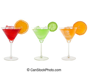 colorful cocktails isolated on white and clipping path...