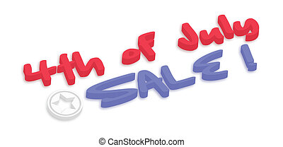 4th of July Sale 3d Text Banner