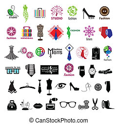 series of vector logos for clothing and fashion accessories