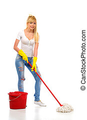 Cleaning woman washing floor with mop and bucket during...