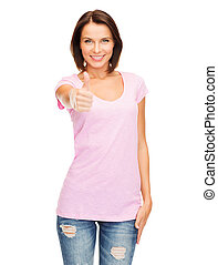 woman showing thumbs up - happy people concept - woman in...