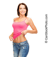 woman showing abs - health, diet and beauty concept - happy...