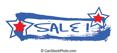 4th of July Sale Banner Vector - Drawing Art of Sale Grunge...