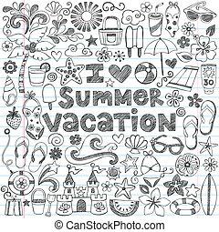 hawaien, Été, vacances, Doodles