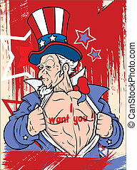 4th of July - Uncle Sam Character - Uncle Sam - I want you -...