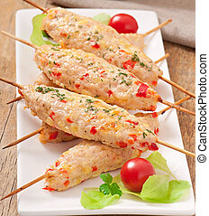 shish kebab of chicken with peppers and cheese