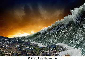 Tsunami waves - Apocalyptic dramatic background - giant...