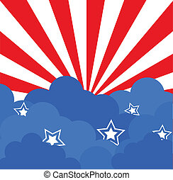 4th of July Stars Clouds Background