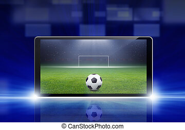 Soccer online - Technology, sports background - tablet pc,...