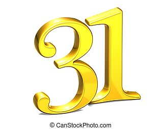 3D Gold Number thirty-one on white background