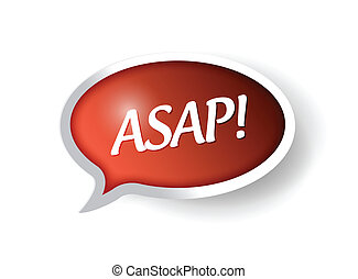 asap message bubble illustration design over white