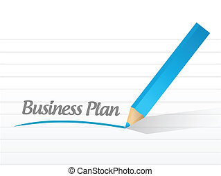 Business plan written on a white paper illustration design