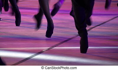 Ballet Catwalk - Ballet dancers in black pointes randomly...