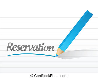 reservation written on a white paper illustration design